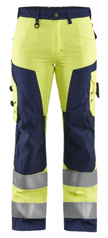 Blaklader 7155 Ladies High Vis Work Trousers without Nail Pockets (Yellow / Navy)